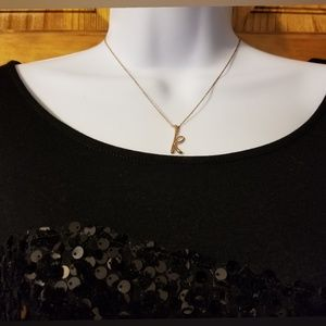Jewelry - K initial necklace (rose gold/sterling)